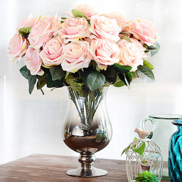 Artificial Flower Bouquet for Wedding 10 Heads French Rose Fake ...