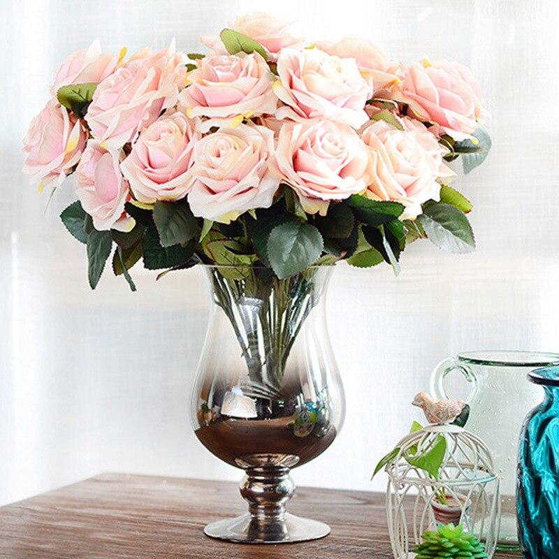 Künstliche Blumen Rose 10 Köpfe Französisch Rose Bouquet Silk Blume für Hochzeit Home Party Dekoration Gefälschte Blume Herbst Decor