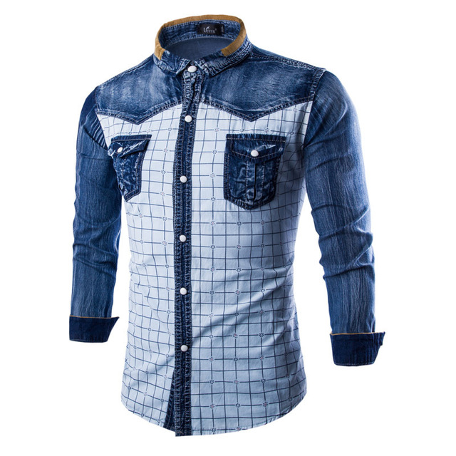 New Men Shirt Chemise Homme Spring Fashion Plaid Design mens Slim Fit Denim  Shirts Casual White Chemises en Denim Homme Xxxl 6c5173ff29a