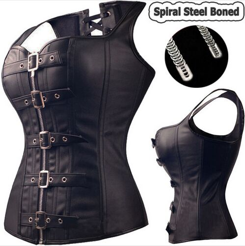 50PCS/LOT Cool Spiral Steel Boned Steampunk Overbust Corset Bustier Top Dress SEXY G-string Lingerie Women Corsets Plus