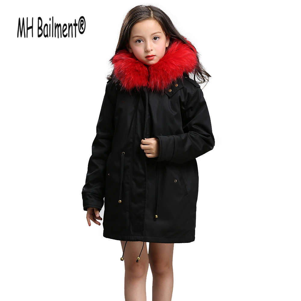 Green Army Raccon Fur Coats Parkas Children Winter Warm Revisable Fur Liner Coat Thicken Boys Girls Fur Jackets Big Collar C#32