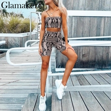 Glamaker Snake print off shoulder rompers womens jumpsuit Two piece set high waist bodycon rompers Winter