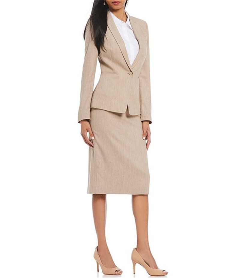 Custom Made Champagnel One Button Women's Skirt Suits Work Suits Business Suits Office Lady Suits 2 Piece Jacket/Skirt