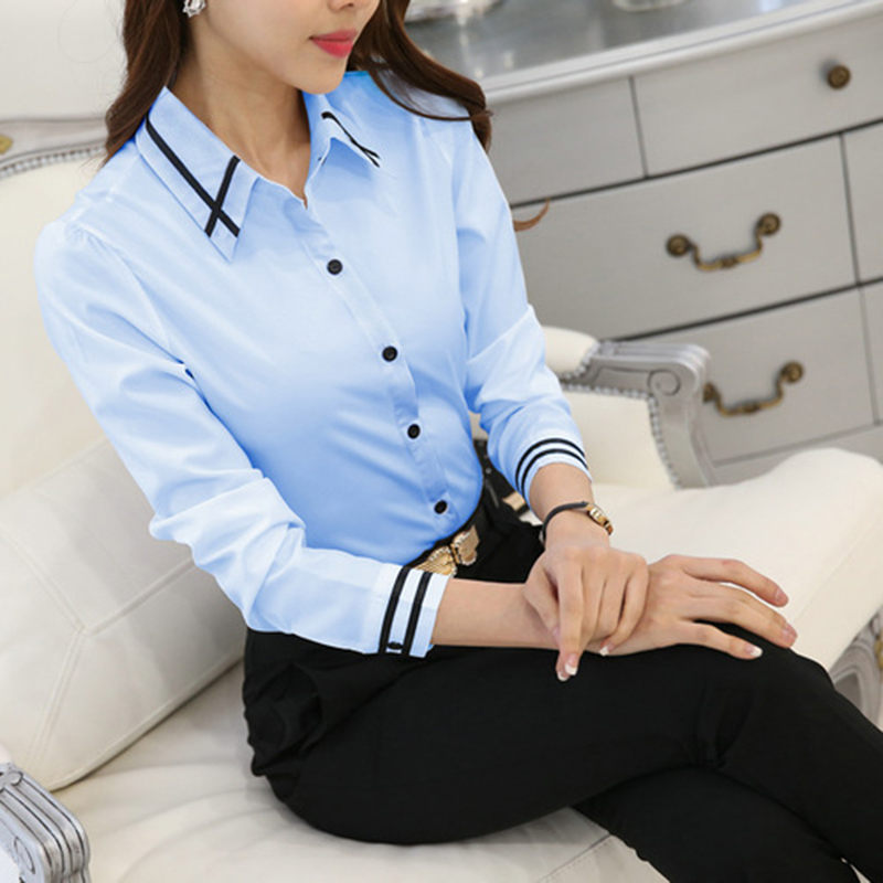 OL Work Wear White Blue   Blouse   Plus Size Long Sleeve Turn-down Collar Formal Elegant Ladies Female   Shirt   Ladies Tops School