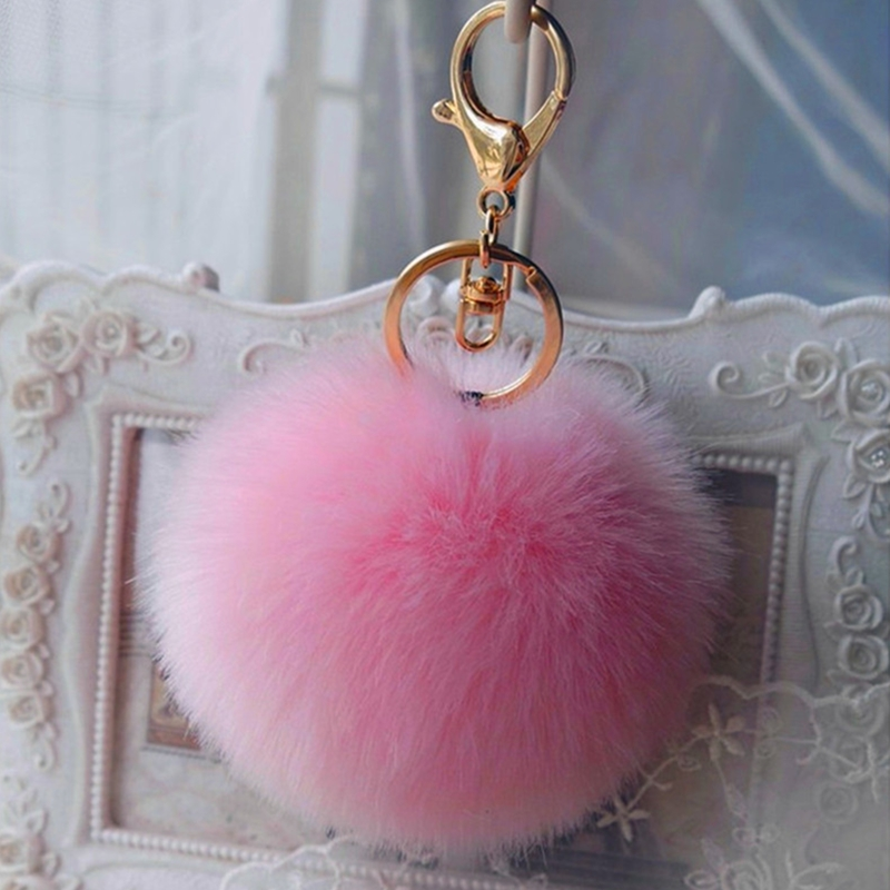 Pom Pom Fur Key Chain Fashion 8cm Fluffy Fur Ball Car KeyChain Gold Tone Women Bag Key Ring Charm Pearl Wedding Trinket Jewelry