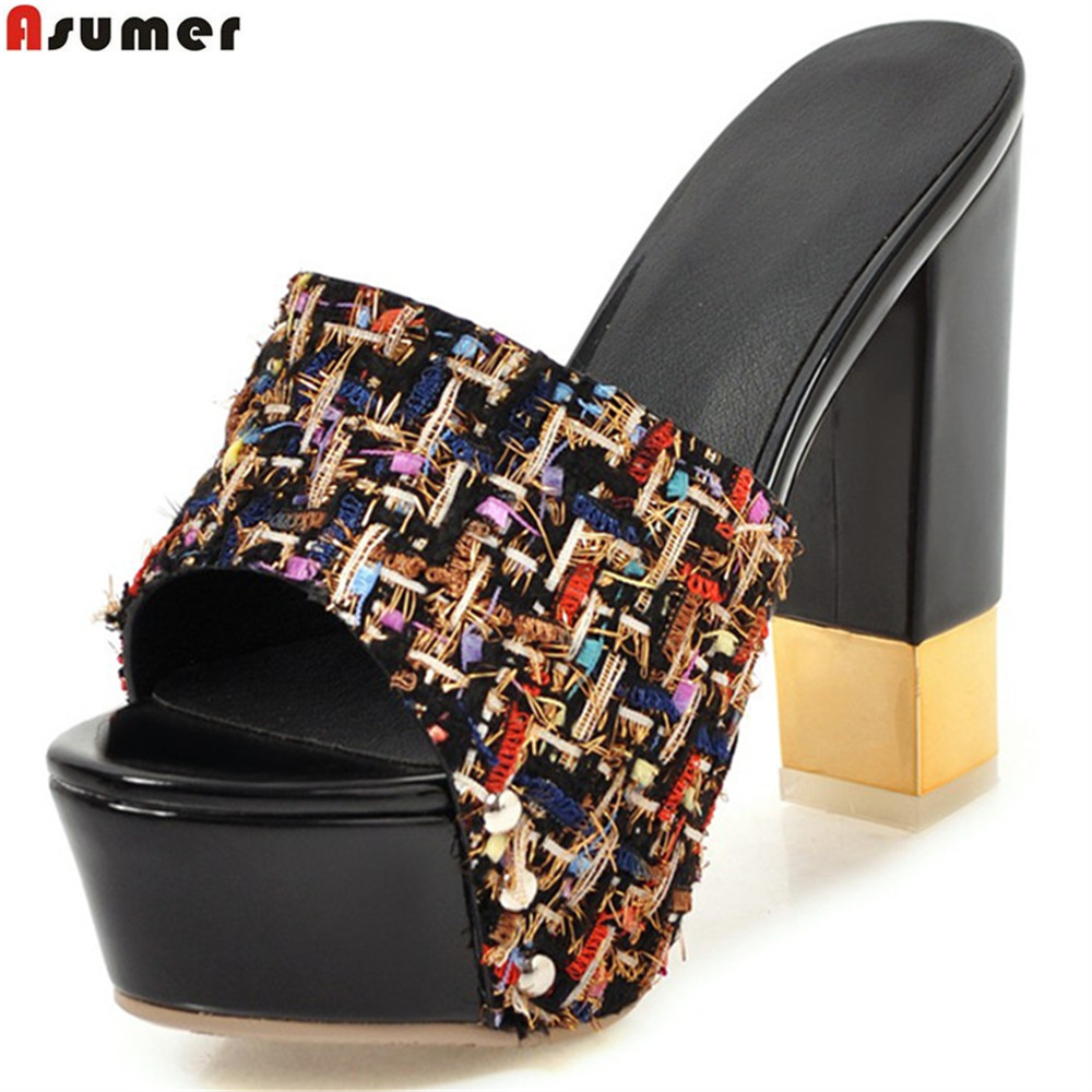 ASUMER big size 33-43 fashion summer ladies shoes peep toe shallow thick platform  women 1573aed90d92