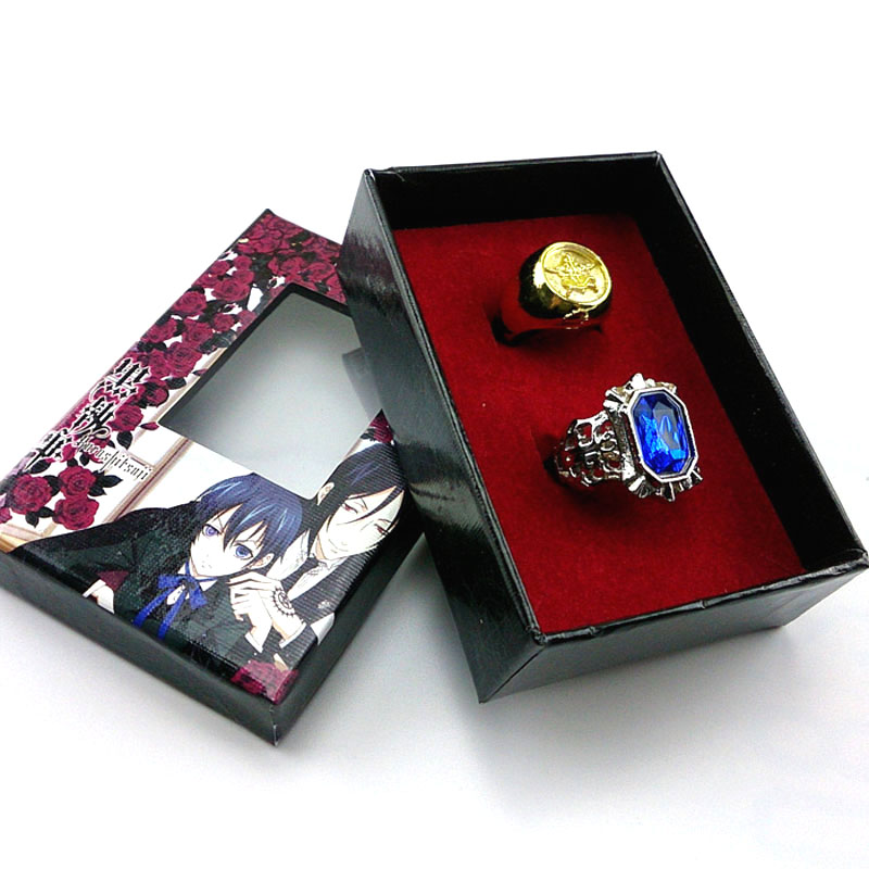 Anime Black Butler Metal Ring Ciel Phantomhive Cosplay Accessories Sebastian Michaelis Fashion Pendants For Men Women Gift