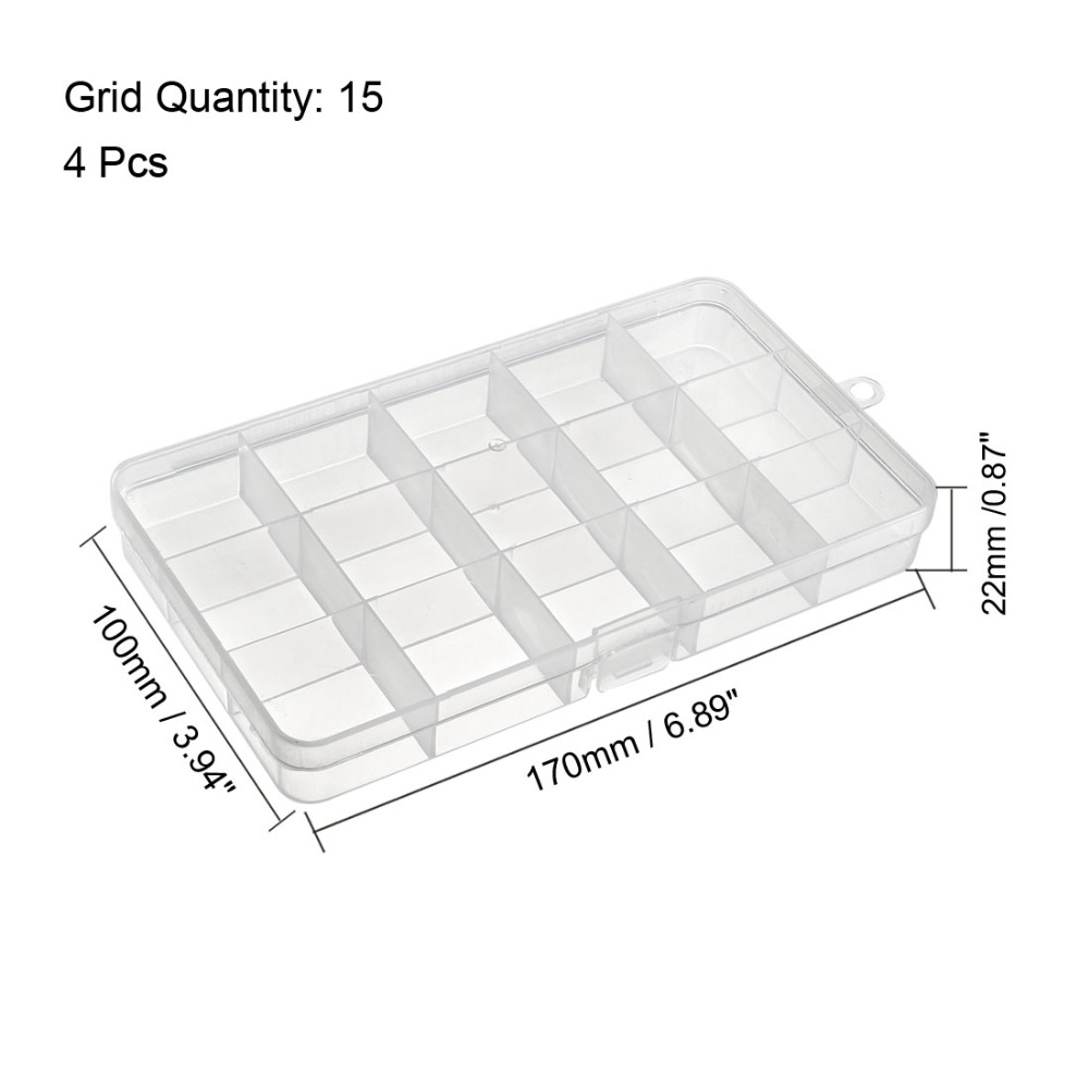 Uxcell 3pcs 4pcs 175x100x22mm Single Buckles 15Grid Plastic Component Storage Box Fixed Electronic Component Containers Tool Box