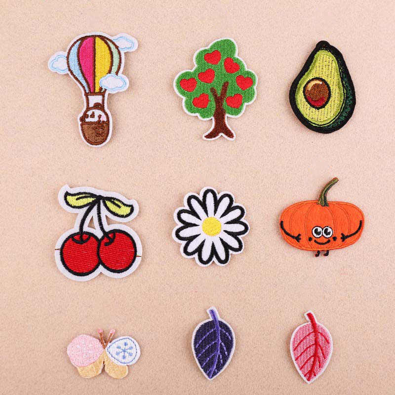 1Pcs Cherry Leaf Embroidery Patch Heat Transfers Iron On Sew On Patches for Clothing Clothes Stickers Decorative Appliques 47211