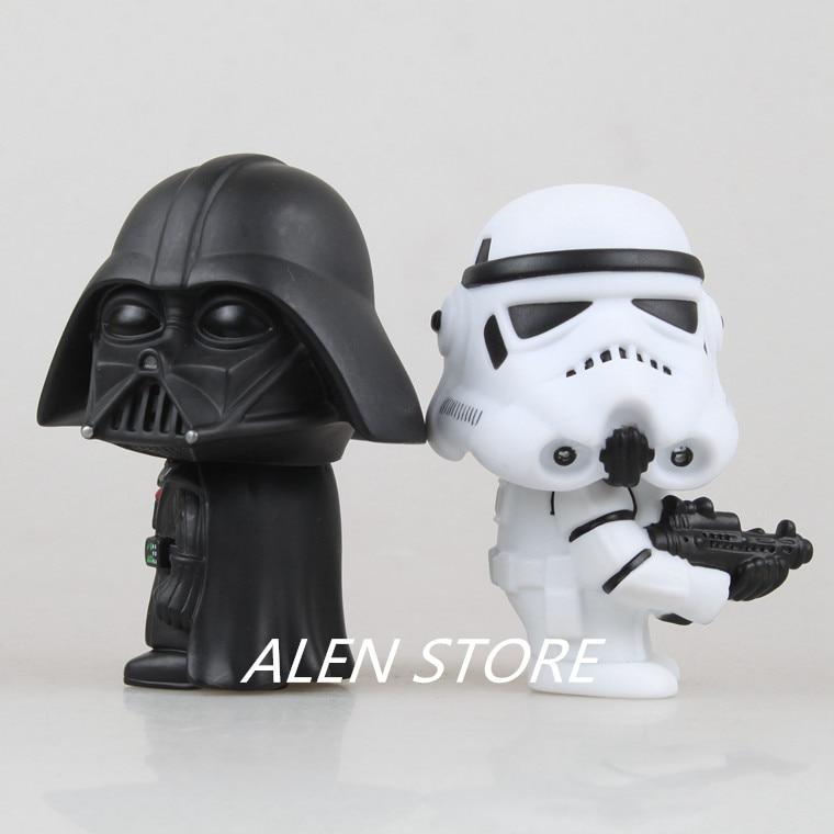 ALEN 2pcs/lot 10CM Q Style Star Wars Darth Vader & STORM TROOPER Action Figure Model starwars Toys kids Birthday gift