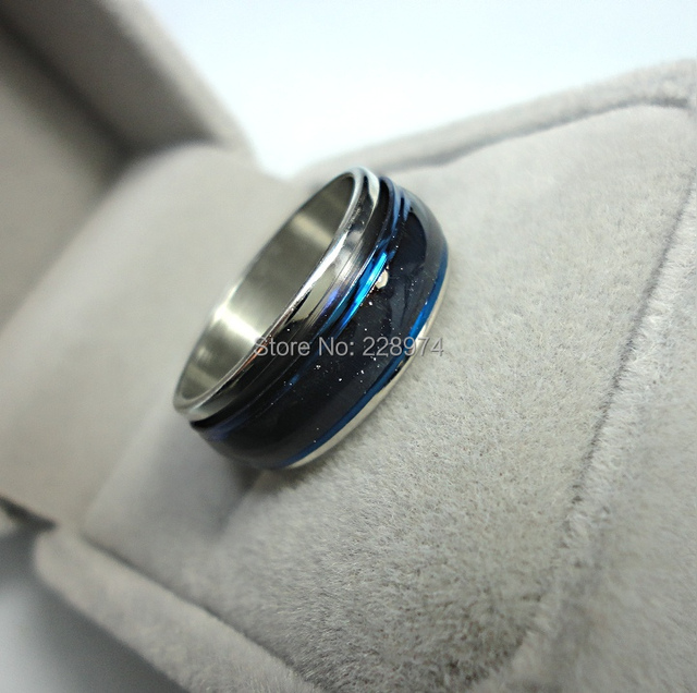 Blue Opal Stainless Steel Action Ring