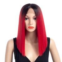 Aigemei прямые Синтетические волосы на кружеве Ombre Цвет Искусственные парики для Для женщин с естественным волос