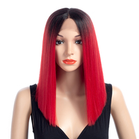 Aigemei Straight Lace Front Ombre Color Synthetic Wigs For Women With Naturally Hairline
