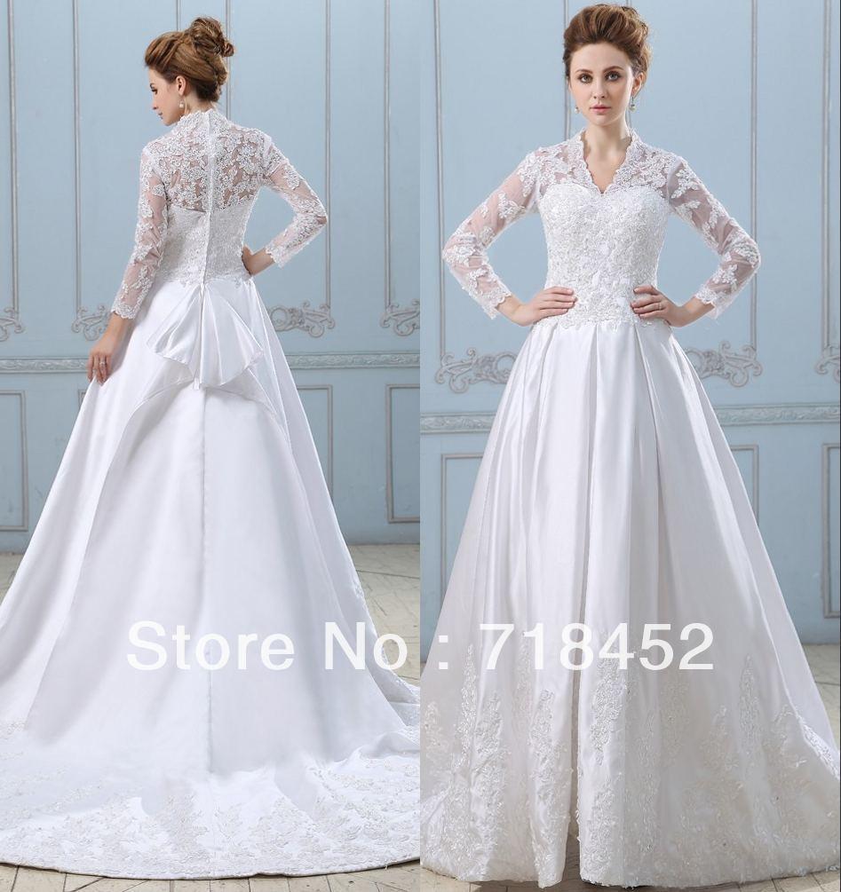 2013 New Fashion See Through Wedding Dress Lace Sleeve V Neck White ...