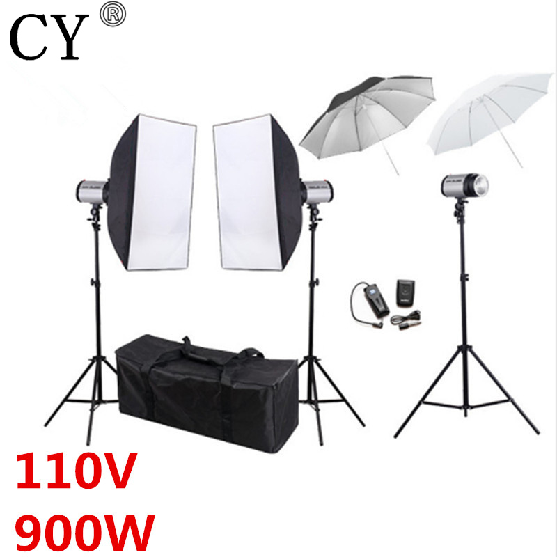 CY 110V 900w Photography Flash Lighting Kit Godox 300DI Strobe Light Softbox Stand Umbrella Photo Studio Accessories Equipments flash photography photo portrait photography equipment 4 lamp softbox reflective umbrella photography light set background cp