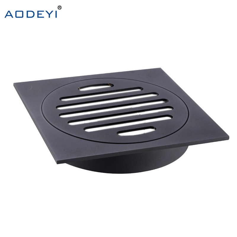 AODEYI Housetop All Brass Shower Drain Bathroom Floor Drain Tile Insert Square Anti-odor Floor Waste Grates Black Chrome Finish free shipping high quality brass floor drain anti odor anti water backing anti virus chrome plated surface diameter is 40mm