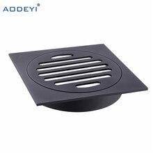 AODEYI Housetop wszystkie mosiądz prysznic drenażu łazienka odpływ podłogowy płytka wstaw kwadratowy anty zapach piętro odpadów ruszty czarny chrom wykończenie