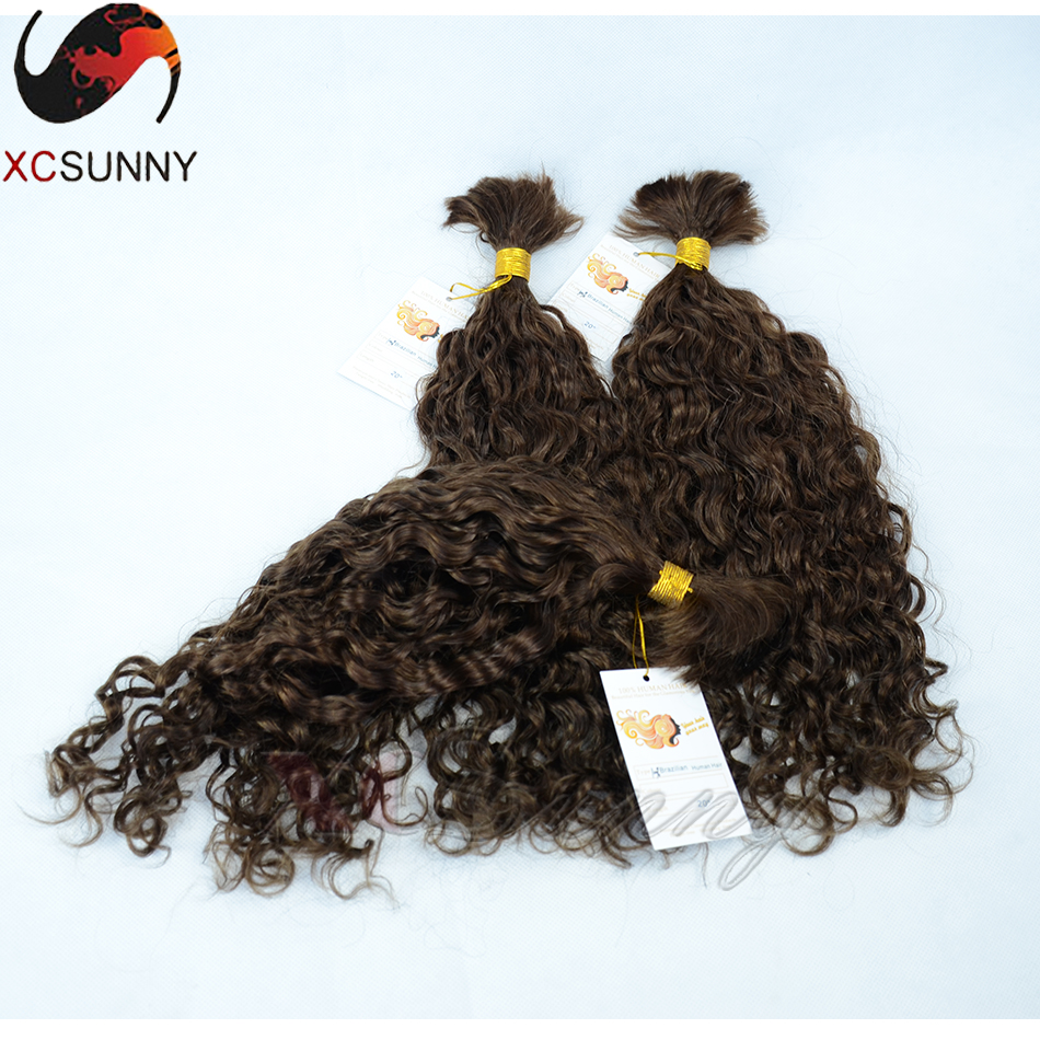 Brazilian Virgin Hair Curly Human Braiding Hair Bulk No Weft Unprocessed Human Hair for Braiding Bulk No Attachment 3pcs/lot