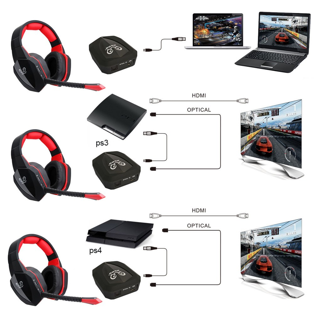 HUHD 7.1 Surround Sound Stereo headset 2.4Ghz Optical Wireless Gaming Headset headphone for PS4 3 XBox 360 one S PC TV earphones 5