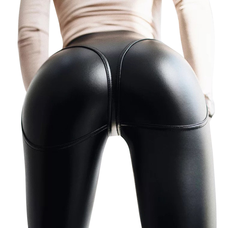 New Fashion Push Up Leggings Women High Waist Patchwork Leggins Mujer Fitness Solid Colors Pants Sexy Black PU Leather Leggings