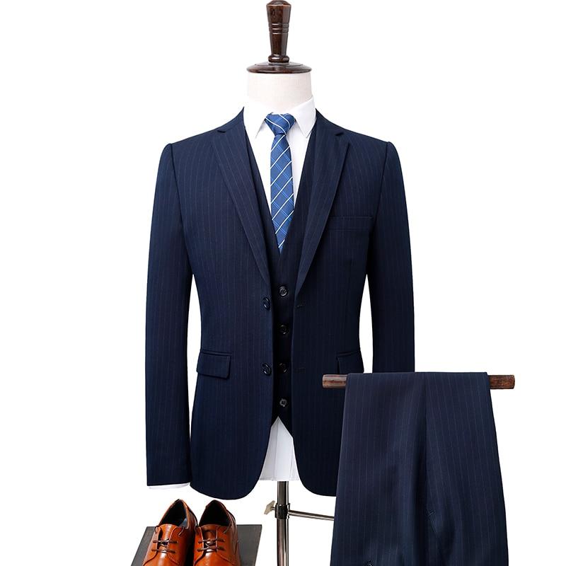 Fit pièce Trois Noir Hommes Blazers Rom Mâle veste Slim Affaires Gauche Gilet mode De Costume Haute bleu 2018 Qualité Loisirs Pantalon AqxfvxawHT
