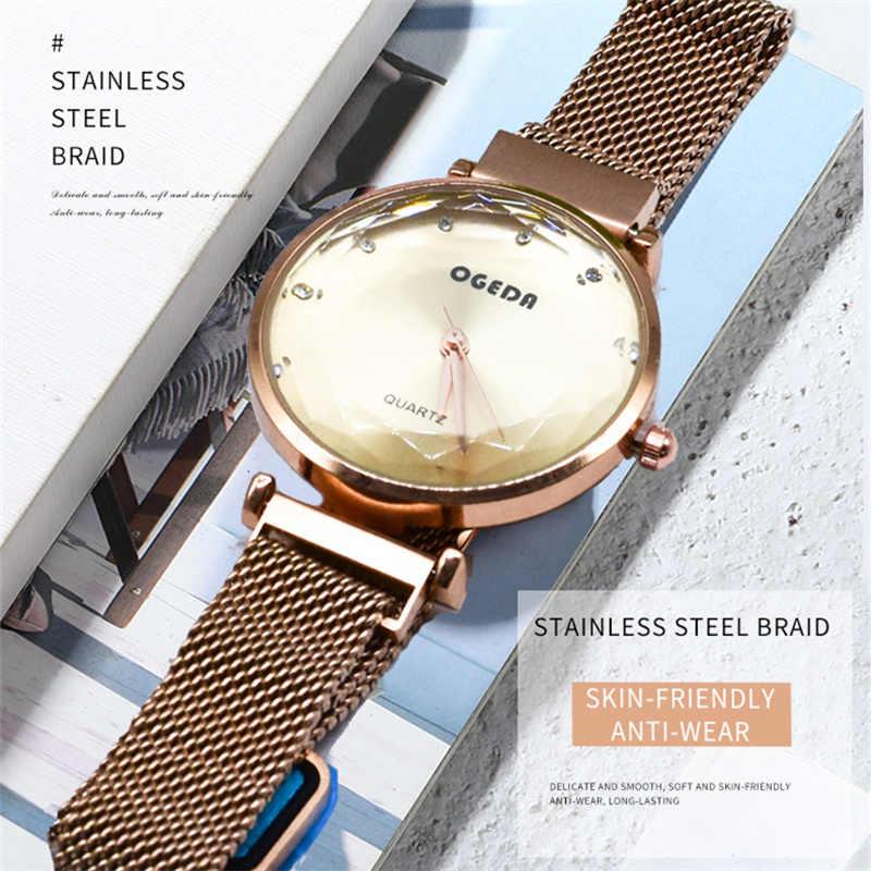 Ogeda top marque Relogio Feminino 2019 nouvelle horloge à Quartz mode luxe 30 m étanche cristal or Rose maille en acier femmes montres