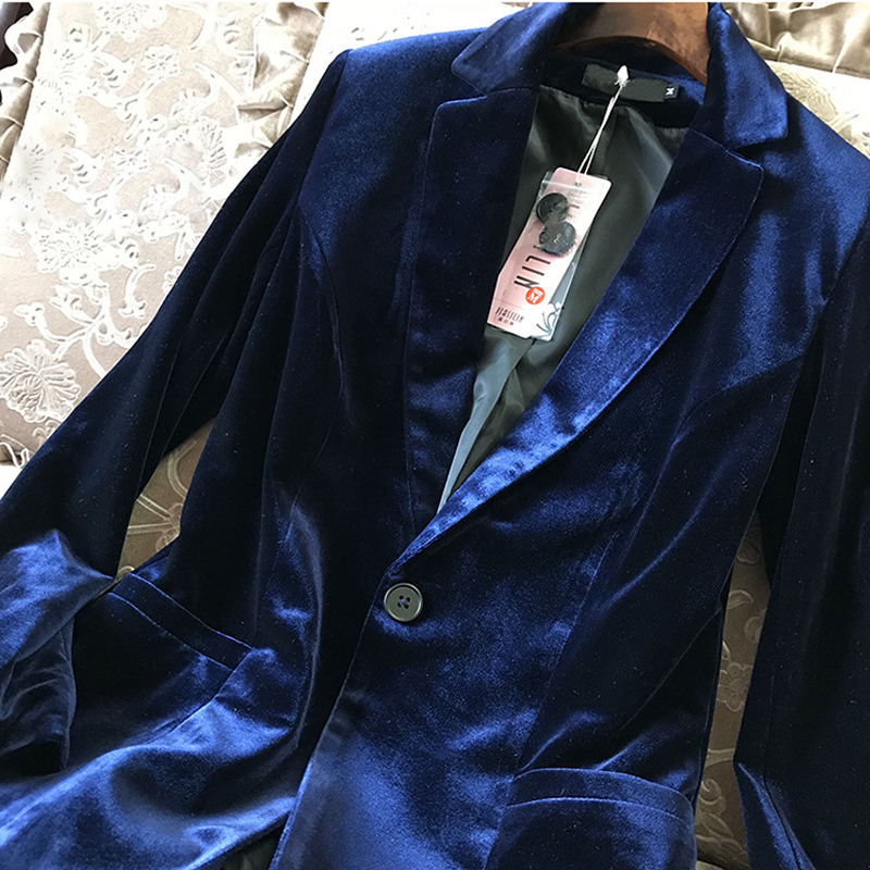 2019 New Velvet Women Blazer Black Blue Elegant Lady Blazers Suits Spring Fall Plus Size Long Sleeve Slim Office Suit Jacket