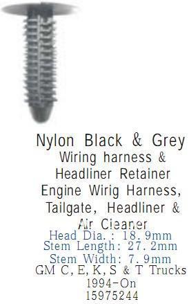 Gm Wiring Harness Headliner Retainer - Wiring Diagrams