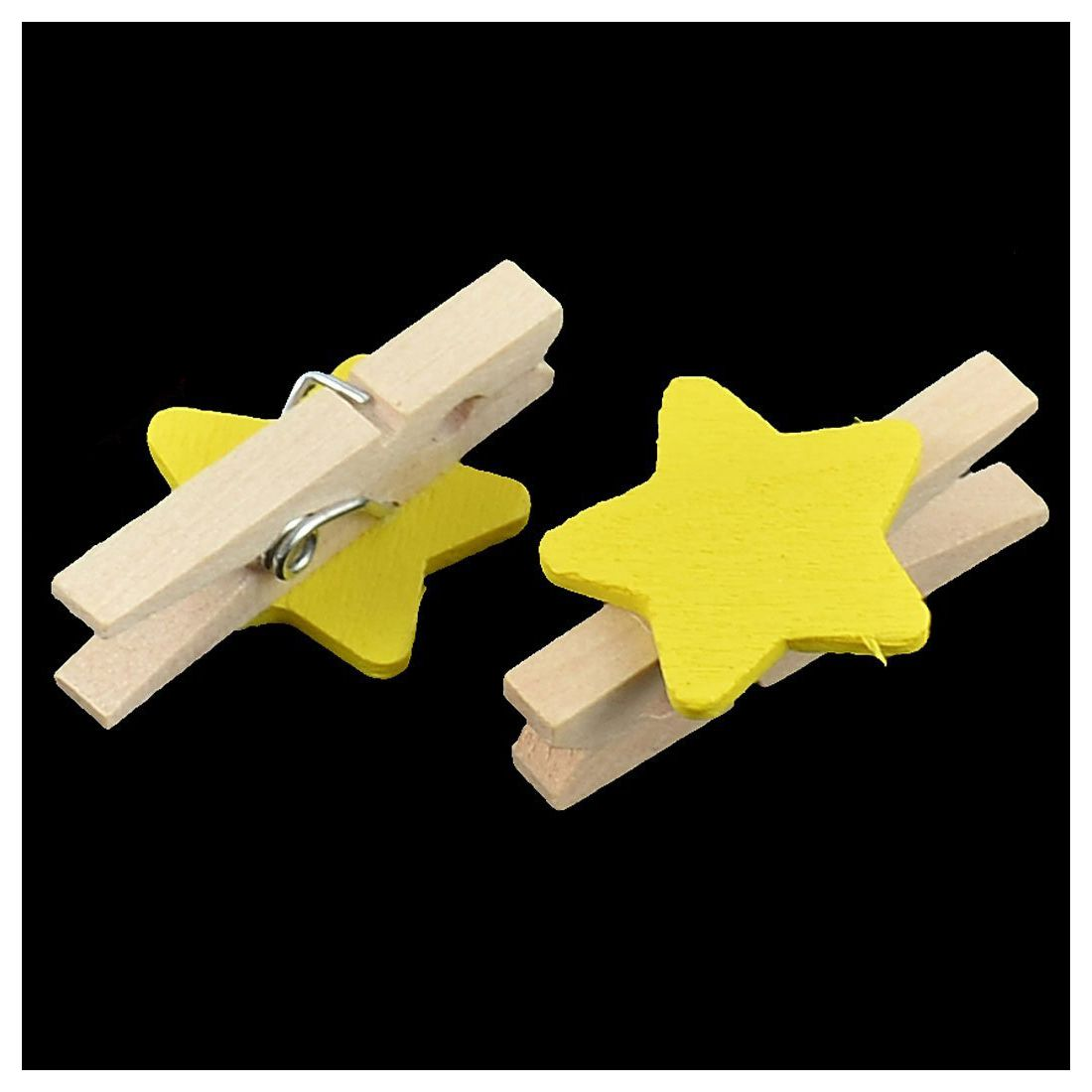 PPYY NEW -Star Pattern Card Photo Paper Spring Peg Mini Wooden Clip 20pcs Yellow