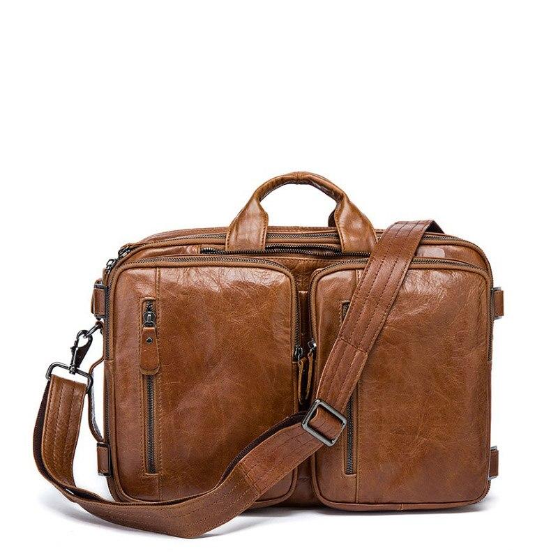 Multifunction Real Genuine Leather Men Messenger Bags Business Men Bags Men's Shoulder Laptop Handbag Men's Travel Bag