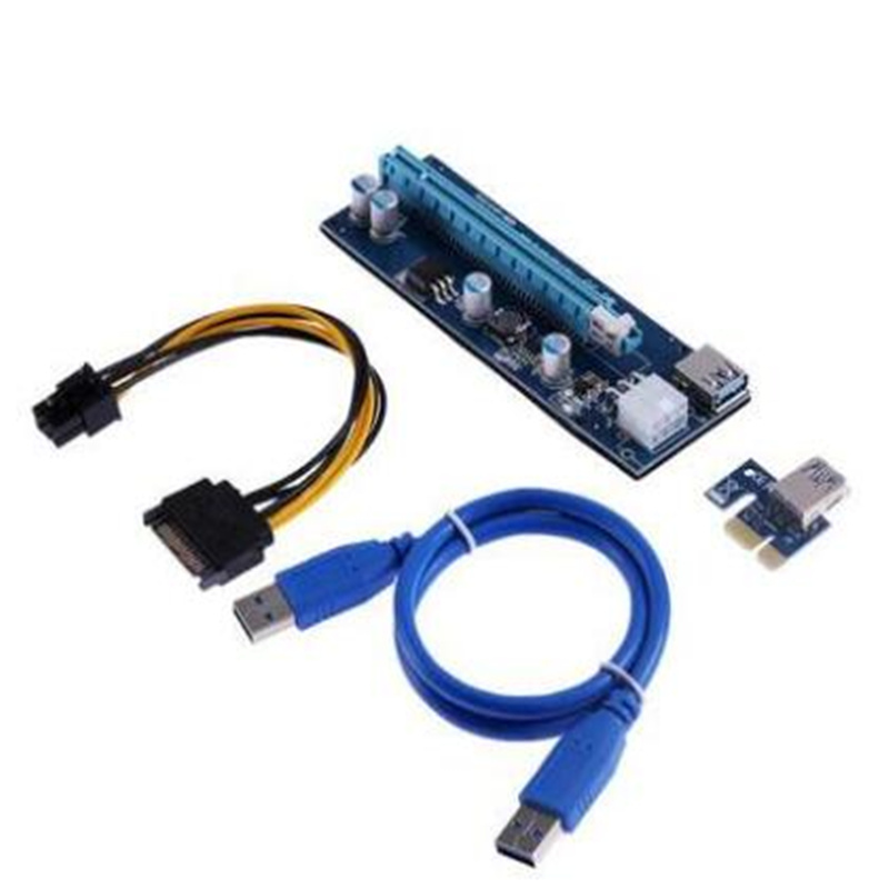 Pico PSU VER006 PCI-E Riser Card PCIE 1X 16X Extension Adapter 60CM USB 3.0 Cable SATA 4Pin Molex Power for Bitcoin Miner Mining ubit 1x to 16x graphics extension ethereum eth mining powered riser adapter card 4 port transfer adapter 60cm usb 3 0 cable