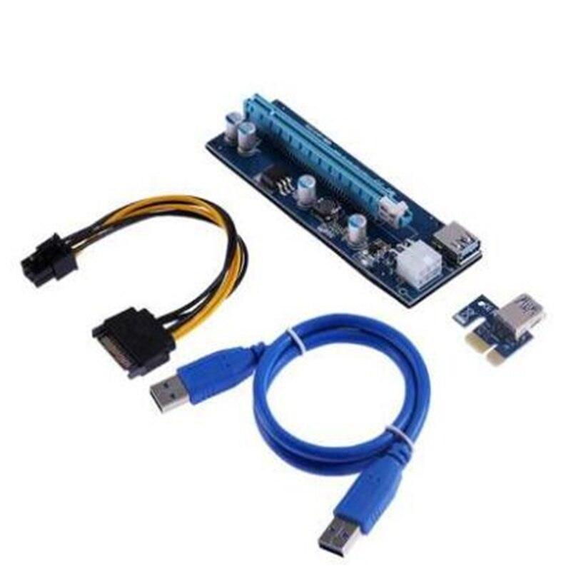 Pico PSU VER006 PCI-E tarjeta vertical PCIE 1X 16X extensión 60 cm Cable USB 3,0 SATA 4Pin alimentación Molex para Bitcoin minero minería