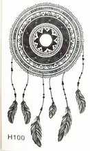 10x6cm Temporary Small Fashion Tattoo Black Sexy Dreamcatcher Feather Waterproof Temporary Tattoo Stickers