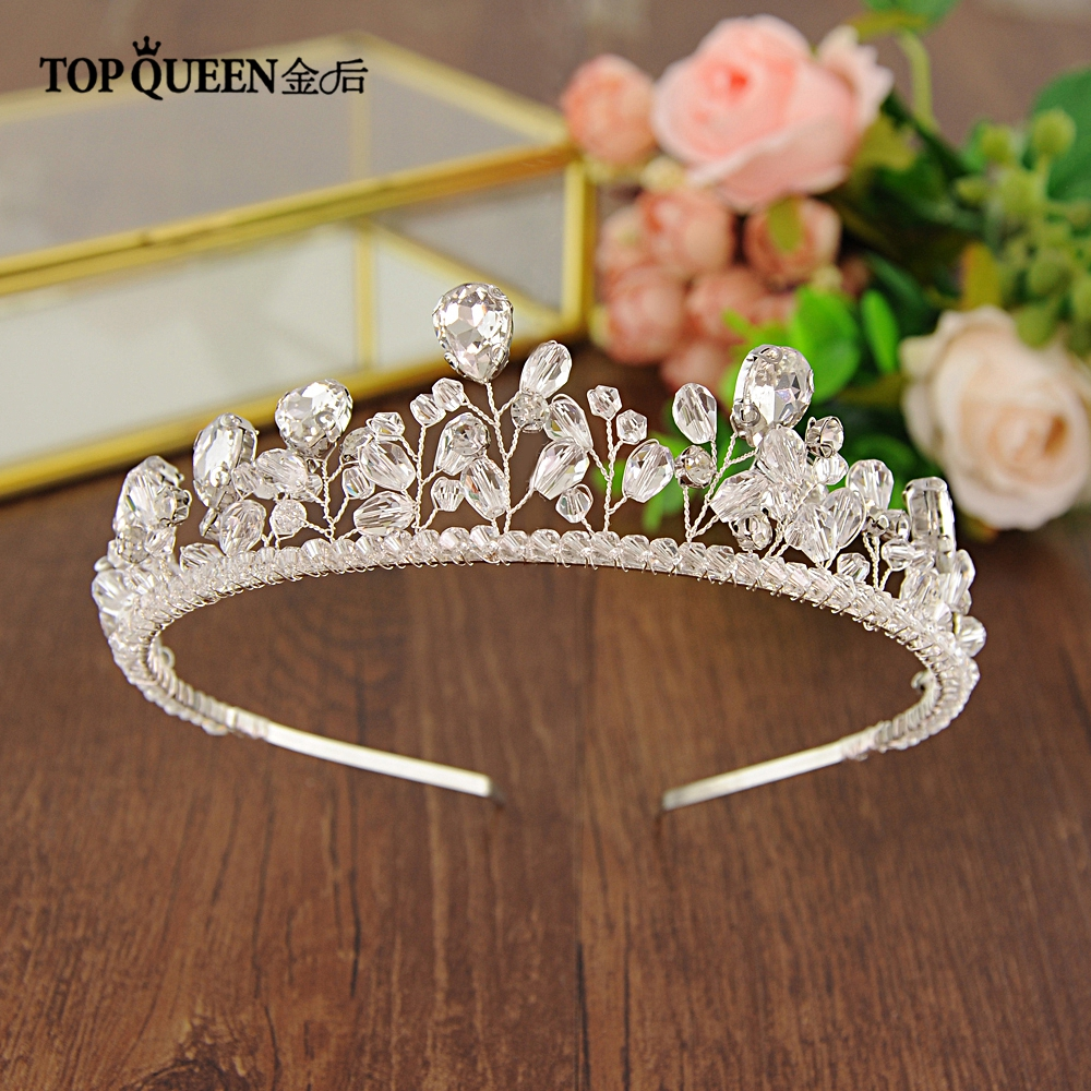 TOPQUEEN HP141 Luxury Handmade Crystal Bridal Crown Tiara Silver For Bride Headbands Wedding Hair Accessories Fast Shipping