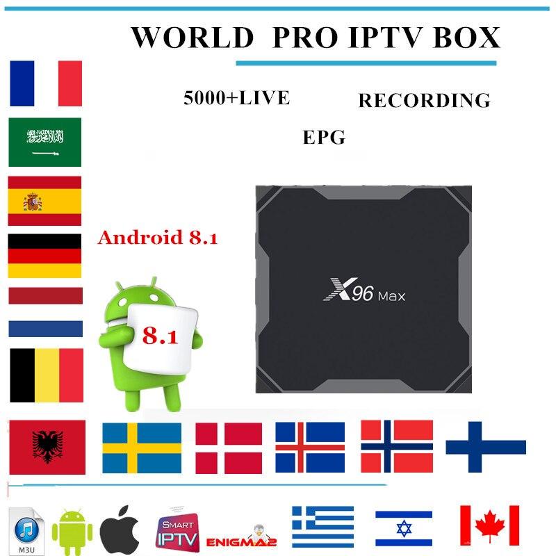 X96 MAX android tv box Android 8.1 + Wereld PRO iptv Europa Nordic Zweden Israël Nederlandse Frankrijk voor iptv m3u smart tv iptv box-in Set-top Boxes van Consumentenelektronica op  Groep 1