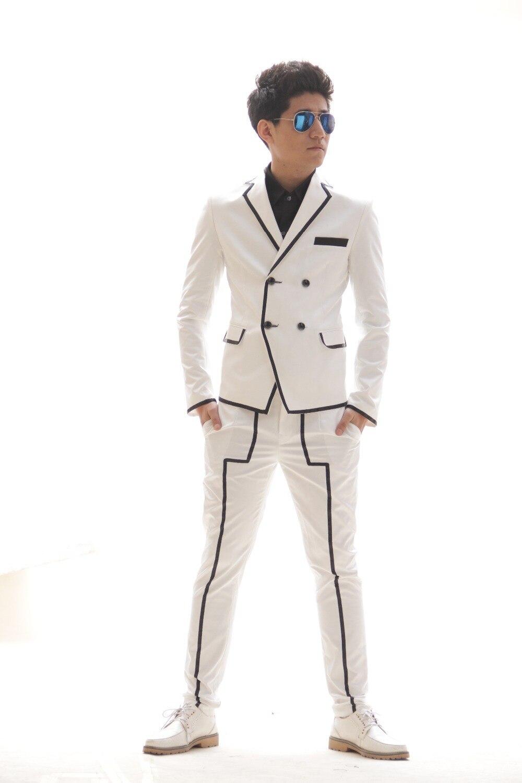 Aliexpress.com : Buy Men Slim fashion white black Stripe suit set ...