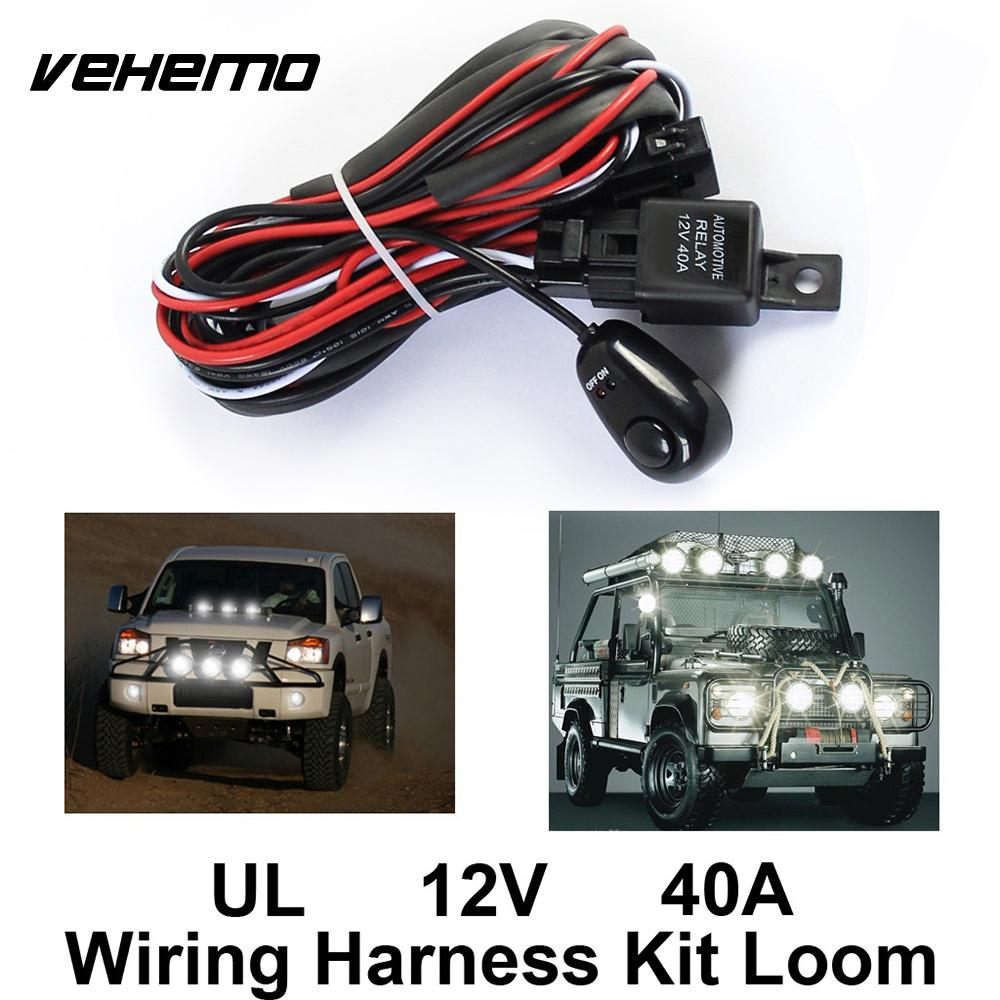 Vehemo 12V 40A Copper Line Professional Universal Wiring Harness Kit LED Work Driving Light Auto Line Set Cable