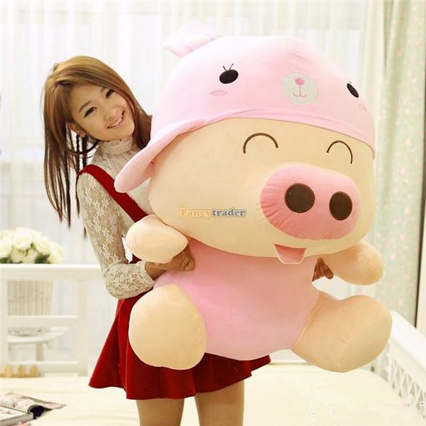 Fancytrader 37'' / 95cm Giant Big Super Cute Stuffed Soft Plush McDull Pig Toy, 4 Models Available, Free Shipping FT50371 fancytrader 79 lovely super soft giant stuffed jumbo dolphin plush toy 200cm 2 colors 2 sizes free shipping ft50142