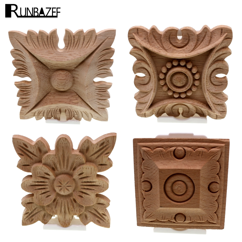 RUNBAZEF Flower Carving Natural Wood Appliques For Furniture Cabinet Unpainted Wooden Mouldings Decal Decorative Figurines