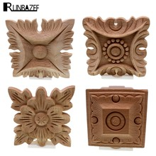 RUNBAZEF Flower Carving Natural Wood Appliques For Furniture Cabinet Unpainted Wooden Mouldings Decal Decorative Figurines(China)