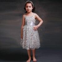 الفضة الترتر فتاة اللباس حبال أكمام فتاة ازياء الأطفال ملابس الزفاف حزب اللباس الاطفال الأميرة اللباس الرسمي 1-14Y