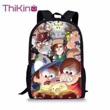 Thikin Gravity Falls Students School Bag for Girls Teens Backpack Supplies Package Shopping Shoulder Women Mochila