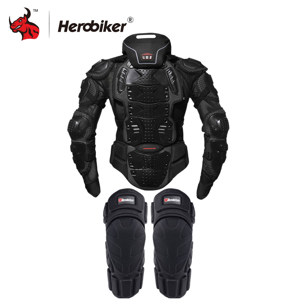 цена на HEROBIKER Motorcycle Jacket Men Full Body Motorcycle Armor Motocross Racing Protective Gear Black Motorcycle Protection S-5XL