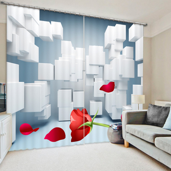 The Move Space 3D Printing Curtains With Bedding Room Living Room or Hotel Cortians Thick Sunshade Window Curtains