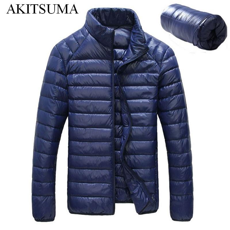Зимние куртка-пуховик мужчины 90% вниз содержание тонкий Ultra Light пуховая куртка зимняя одежда с длинным рукавом, зимние куртки карман akitsuma
