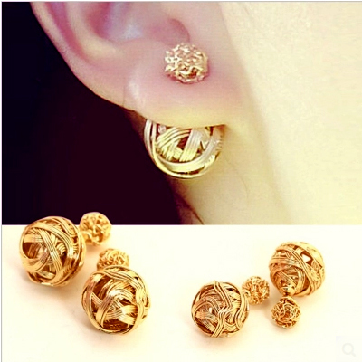New Fashion Double Pearl Earrings Designer Gold Stud Brand Boucle D Oreille Sided For Women Ss5018 In From