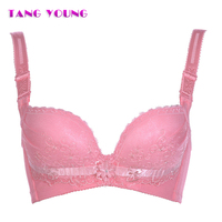 TANG YOUNG Sexy Seamless Women S Push Up Deep V Sleeping Bras Embroidered Lace Stich Bralette
