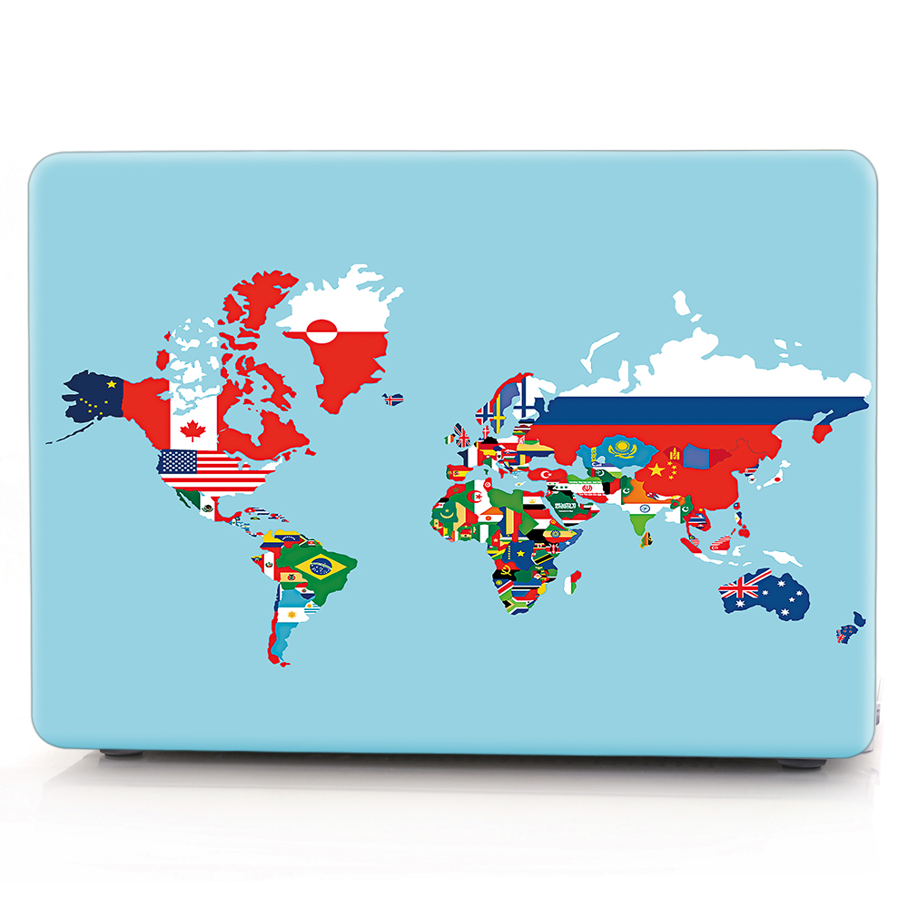 New For Macbook Air Pro Retina 11 12 13 15 Cover Hard PVC Color World Map A1466 Hard PC Coque for Macbook Pro 13 A1989 2018 Case (9)