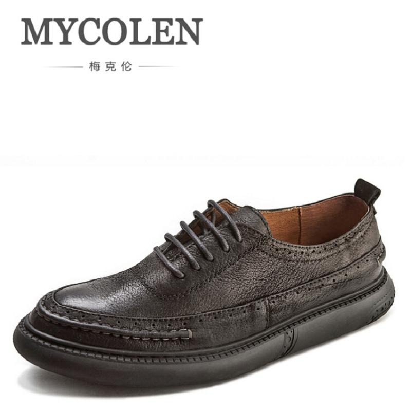 MYCOLEN Genuine Cowhide Leather Men's Business Shoes Fashion Handmade Men Formal Flats Male Moccasins Casual Sapatos Masculino 2017 new handmade women flats genuine leather oxfords shoes woman fashion ballets flats casual moccasins for women sapatos mujer