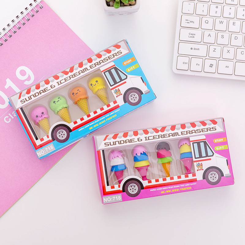 1 Set Cute Ice Cream Shape Eraser Rubber Cute Eraser Primary School Student For Girls And Boys Promotional Gift Stationery